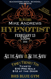 BHS Band Fundraiser - Hypnotist Performance - February 13th, 2016 @ Hypnotist Performance - BHS Blue Gym | New Market | Alabama | United States